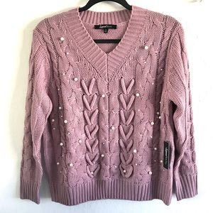 Sold LILAC SWEATER WITH PEARLS DETAILS SIZE S